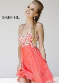 Coral Halter Neck Beaded Top Layered Homecoming Dress Cheap