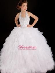 Ball Gown Halter Sleeveless Floor-Length Beading Ruffles Petite Boutique Flower Girl Dresses