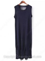 Navy Round Neck Sleeveless Hollow Dress $30.19