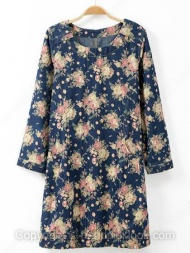 Blue Round Neck Long Sleeve Floral Print Dress $29.29