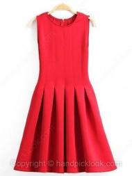 Red Round Neck Sleeveless Ruffles Dress $26.09