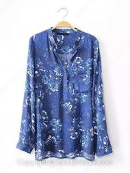 Blue Long Sleeve Floral Print Loose Blouse  $20.99