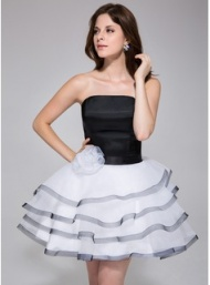 A-Line/Princess Strapless Short/Mini Organza Charmeuse Homecoming Dress With Flower(s) Cascading Ruffles (022027165) - JJsHouse