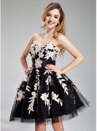 A-Line/Princess Sweetheart Short/Mini Tulle Charmeuse Homecoming Dress With Ruffle Beading Appliques (022019176) - JJsHouse
