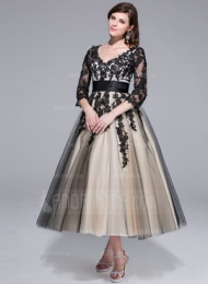 Платье для Балла V-образный Длина ниже колен Тюль Шармёз Свадебные Платье с Рябь кружева (002024298) - AmorModa