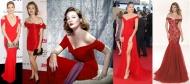 Robe de soirée rouge épaules dénudées