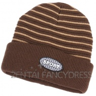 Fashion 2014 New Winter Mens Brown Soft Cross Stripe Hat Womens Sports Hat