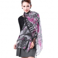 Womens Purple Flower and Gray Printing Scarf Thin Soft Long Chiffon Scarves Lady Wrap Shawl