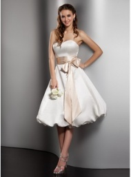 A-Line/Princess Halter Ankle-Length Chiffon Charmeuse Wedding Dress With Ruffle Bow(s) (002012645) - JJsHouse
