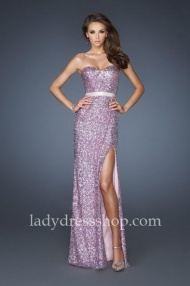 Cheap La Femme 18850 Purple Full Sequin Strapless Prom Gown