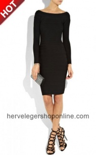 Black Herve Leger Ribbed Long Sleeves Bandage Dresses