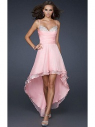 2014 Short High Low A-line Sweetheart Spaghetti Strap Pink Formal Dress