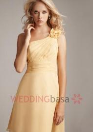 http://www.weddingbasa.com/charming-one-shoulder-neckline-chiffon-ruffles-handmade-flowers-empire-waist-short-bridesmaid-dress-p-19447.html FEATURED : Bridesmaid Dresses SILHOUETTE: A Line NECKLINE: One Shoulder FABRIC:  Chiffon BACK CLOSURE: Zipper Up STYLES: Luxurious& Glamorous TRAIN/HEMLINE: Knee Length SLEEVE LENGTH: Sleeveless EMBELLISHMENT: Ruffles,Handmade Flowers Shown Color: As picture