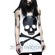Fashion Mens Summer Skull Tank Top Shirt Hip-Hop Rock Loose White Tee