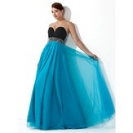 A-Line/Princess Sweetheart Sweep Train Organza Prom Dress With Cascading Ruffles (018004861) - hochzeitstore