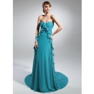 Trumpet/Mermaid Sweetheart Floor-Length Taffeta Prom Dress With Ruffle Beading Appliques Sequins (018004874) - hochzeitstore