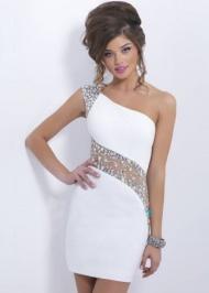 White One Shoulder Beaded Cutout Short Elegant Dress