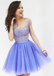 Periwinkle Cap Sleeves Floral Top Layered Tulle Homecoming Dress