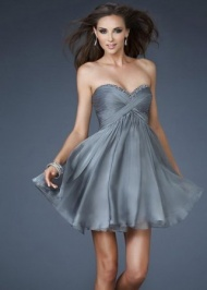 Grey Ruffled Sequin Neckline Chiffon Strapless Prom Dress