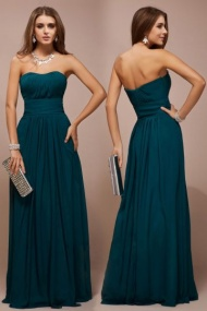 A-line Strapless Ruched Empire Chiffon Long Bridesmaid Dress