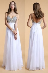 Backless Beading Chiffon with Straps Formal Dress
