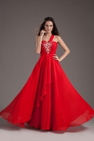 Red A-Line One shoulder Sleeveless Chiffon Long Formal Dress
