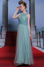 Green Tone Chic Pleated A-line Scoop Formal Evening Dress