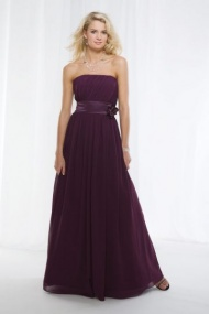 Honor Long Bridesmaid Dress A-line Strapless with Flower