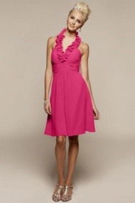 Bridesmaid dress in Chiffon A-line Knee Length with Long Strap Neck Ruched