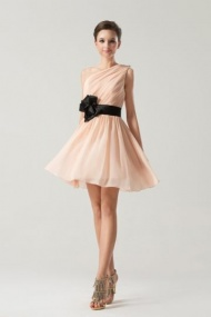 A-line Chic One Shoulder Ruched with Belted Bridesmaid Dresses