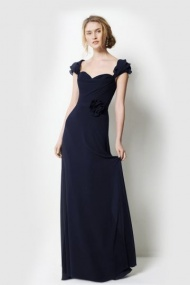 A-line Sweetheart Neckline with Handmade Flower Long Bridesmaid Dress
