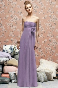 Slinky Chiffon Ruched Strapless with Flower Bridesmaid Dress