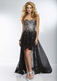 Black Strapless Beaded Mori Lee High Low Prom Dress