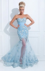 Strapless Blue Beaded Floral Appliques Mesh Evening Gown