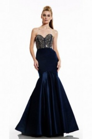 Corset-Style Beaded Top Royal Blue Mermaid Dress for Prom