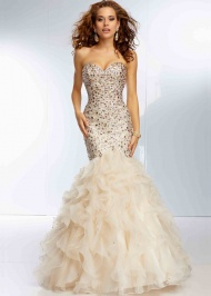 Champagne Sweetheart Beaded Corset Lace Up Back Mermaid Gown
