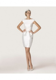 Modern Chic Sheath Column Tank Top Mini Satin Wedding Dress