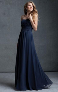 Cheap A-line Sweetheart Natural Floor Length Sleeveless Ruched Zipper Up Chiffon Navy Evening/Prom/Homecoming/Bridesmaid Dresses BD9111309 UK