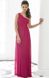 Cheap A-line One Shoulder Empire Floor Length Sleeveless Pleats Zipper Up Chiffon Fushia Evening/Prom/Bridesmaid Dresses BD9111313 UK