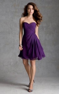 Cheap A-line Sweetheart Natural Knee Length Sleeveless Ruched Zipper Up Chiffon Purple Watermelon Cocktail/Prom/Homecoming/Bridesmaid Dresses BD9111320 UK