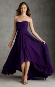 Cheap A-line Sweetheart Natural Floor Length Sleeveless Ruched High-Low Zipper Up Chiffon Purple Evening/Prom/Bridesmaid Dresses BD9111324 UK