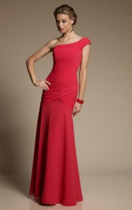 Cheap A-line One Shoulder Natural Floor Length Sleeveless Ruched Zipper Up Chiffon Red Evening/Prom/Bridesmaid Dresses BD9111325 UK