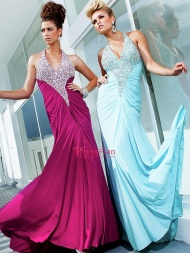 Zipper Sequin Bodice Long Halter Gown by with Natural Waistline