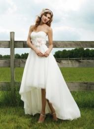 Sweetheart High Low Organza Ivory A Line Wedding Dress