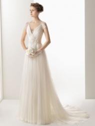 Tulle V Neck Court Train A Line Wedding Dress