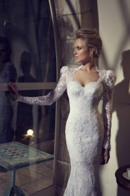 Long Sleeve Square Sweep Train Lace Trumpet Mermaid Wedding Dress With Appliques