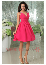 Wholesale 2015 Fashion V-Neck Beads On Shoulder As Picture color Knee Length Chiffon Made Sleeves Bridesmaid Dress Hot Sale Pleated Beautiful Party Gowns Shipping In 48 Hours