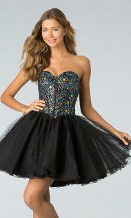 Black Strapless Brilliant Beaded Short Prom Dress