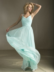 A-line Halter Sleeveless Chiffon Prom Dresses With Ruffles