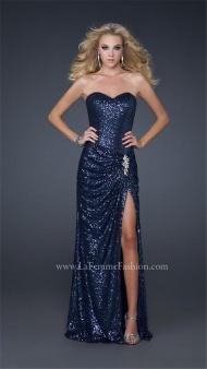 Navy Full Sequin Split Prom Dresses Long 17104 La Femme